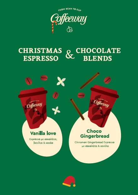 Βελούδινος συνδυασμός με espresso & σοκολάτα! Άρωματα καφέ, σοκολάτας, πιπερόριζας, βανίλιας και κανέλας μέσα στα 2 γιορτινά ροφήματα του Coffeeway! Διάλεξε τη γεύση που σου ταιριάζει ανάμεσα στα Vanillia love & Choco Gingerbread!!